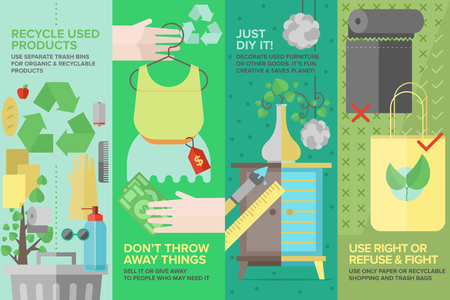 basura organica: Conjunto Flat estandarte de ropa de segunda mano, bienes y productos utilizados, el reciclaje de residuos y elementos antiguos de protección ecología, muebles de bricolaje y cosas Vectores