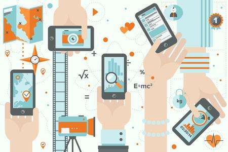 Wohnung, Design, Illustration Konzept der verschiedenen mobilen Anwendungsnutzung