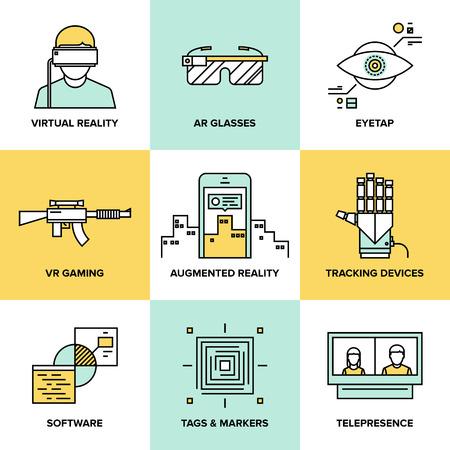 digitální: Ploché vedení ikony sada rozšířené technologie reality, AR brýle a průhledový displej namontovaný