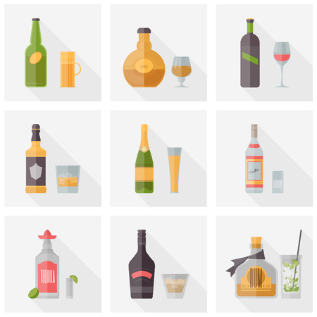 Flat icons set of popular various alcoholic beverages with glasses. Flat design style vector illustration symbol collection. Isolated on white background.   Vector