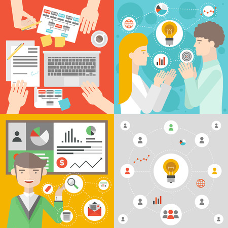 Business people meeting, office team work planning and brainstorm process, teamwork analyzing project, financial strategy presentation. Flat design style modern vector illustration concept.  Çizim