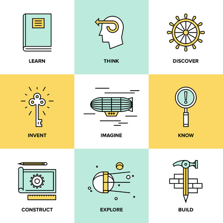 Flat line icons set of creative thinking process, learning and study activities, explore and discovery new things, planning and creating innovation projects. Modern design style vector illustration concept. Vettoriali