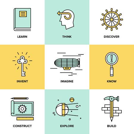 Iconos de la línea plana conjunto de proceso de pensamiento creativo, el aprendizaje y las actividades de estudio, explorar y descubrimiento cosas nuevas, la planificación y la creación de proyectos de innovación. Concepto moderno estilo de ilustración vectorial de diseño.