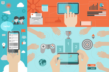 gaming: Flat design style modern vector illustration concept of mobile gaming with network friends, game playing awards, smart phone communication and chatting via social media services, using smartphone for mailing and networking.
