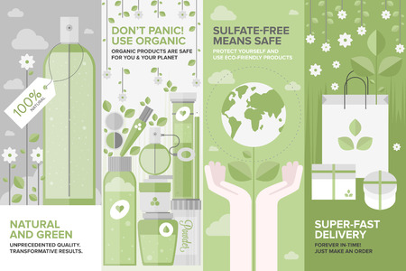 Flat banner set of natural cosmetics and herbal perfumery, organic beauty products, eco-friendly shopping elements for face and body care. Flat design style modern vector illustration concept.