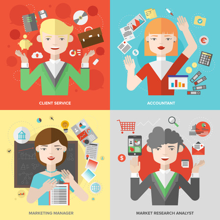 professions: Flat design of business people jobs and marketing professions, client service and support, market research analyst, financial accounting and planning occupation. Modern style vector illustration concept.  Illustration