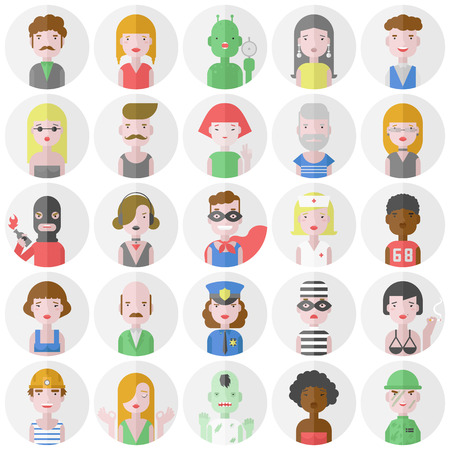 Stylish male and female iconic people characters collection of various occupation, profession and other social individuals portrait. Flat design style modern vector illustration icons set. Isolated on white background. Illustration