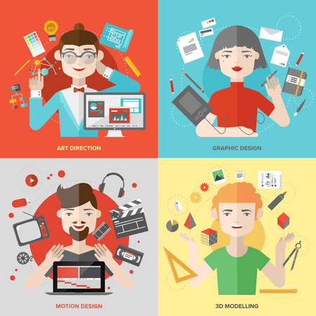 professions: Flat design of creative people design occupations, art direction employment, 3D modeling artist job, motion graphic designer profession. Modern style vector illustration concept.