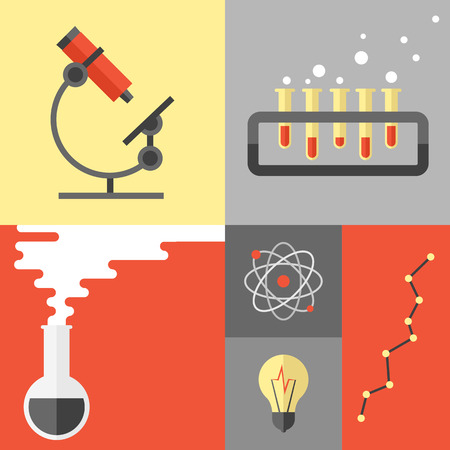 atom symbol: Flat design poster of science experiment and research analysis, chemistry equipment and tools, atom symbol and dna structure. Flat design style modern vector illustration isolated on color background.
