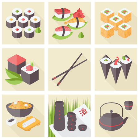 Flat icons set of popular asian healthy food, sushi rolls and rice meal, stylish traditional serving, japanese green tea. Flat design style modern vector illustration concept. Vector