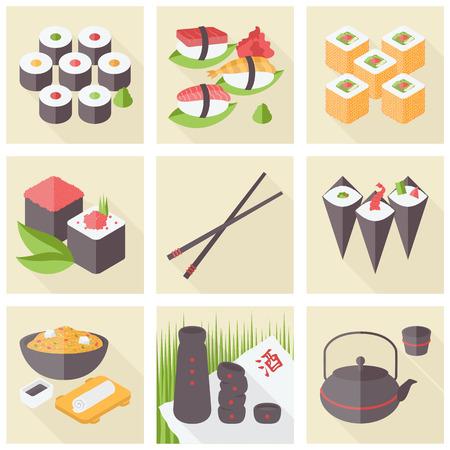 Vlakke pictogrammen set van de populaire Aziatische gezonde voeding, sushi rollen en rijst maaltijd, stijlvolle traditionele portie, Japanse groene thee. Plat ontwerp stijl moderne vector illustratie concept.