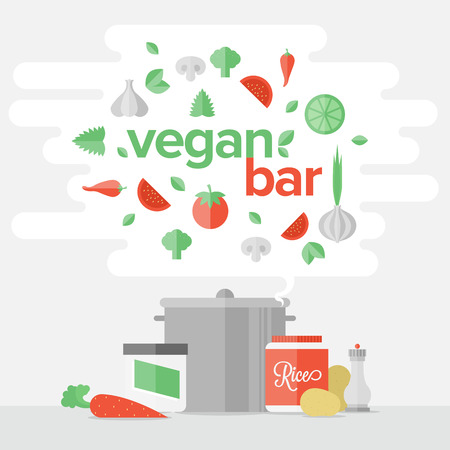 Flat design banner of vegetarian food cooking process, healthy eating and vegetables diet, natural food preparation process. Flat design style modern vector illustration print concept.