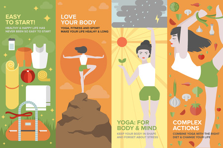 Flat banner set of health yoga life, practice yoga on physical, mental, emotional, spiritual and energetic level, equipment and things for starting. Flat design style modern vector illustration concept.