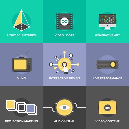 Iconos planos conjunto de audio y proceso de diseño creativo, mapeo de proyección de vídeo, vjing y el arte generativo, el concepto de rendimiento interactivo y en vivo.
