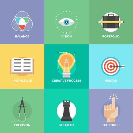 mercadotecnia: Concepto de proceso de diseño creativo con elementos de desarrollo web studio, visión de negocio, estrategia de marketing, solución inteligente e ideas de éxito. Diseño plano iconos de estilo moderno ilustración vectorial conjunto. Vectores