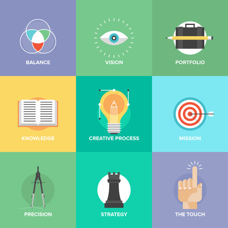 design process: Creative design process concept with web studio development elements, business vision, marketing strategy, smart solution and success ideas. Flat design icons modern style vector illustration set.