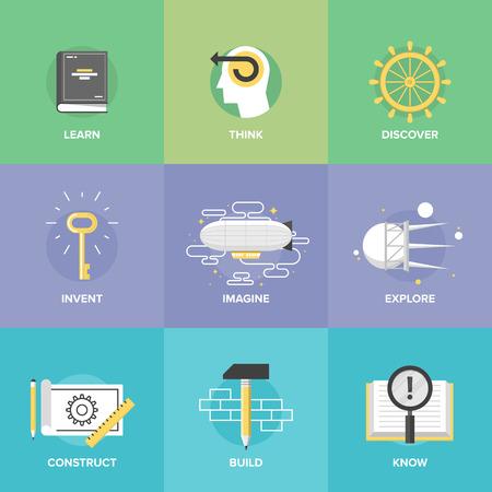 aprendizaje: Proceso creativo pensamiento y las actividades de estudio, el aprendizaje de nuevas habilidades e ideas, explorar y descubrimiento de cosas nuevas, la planificación y la creación de proyectos de innovación.