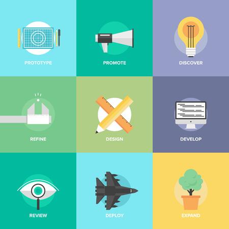 prototipo: Iconos diseño plano conjunto de proceso creativo de diseño, desarrollo de productos web, servicio técnico de estudio, ingeniería prototipo, promoción de marketing e ideas de éxito. Vectores