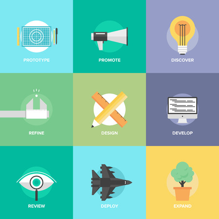 Flat design icons set of creative design process, web product development, studio technical service, prototype engineering, marketing promotion and success ideas.