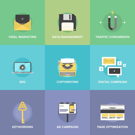 mercadotecnia: Iconos planos conjunto de promoción digital de la agencia de marketing, la publicidad de vídeo viral, la campaña de los medios de comunicación social, el desarrollo seo y optimización de búsqueda web. Concepto moderno estilo de ilustración vectorial de diseño.