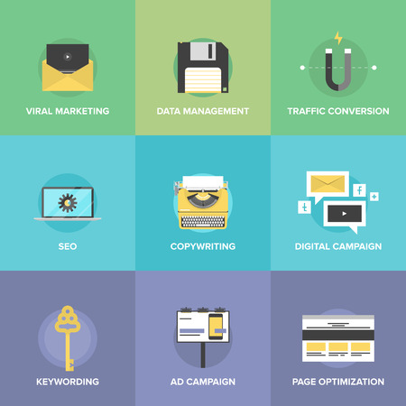 Flat icons set of digital marketing agency promotion, viral video advertising, social media campaign, seo development and website search optimization. Modern design style vector illustration concept.