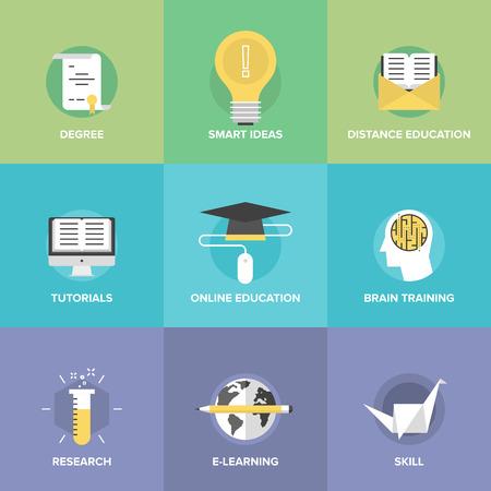 Iconos planos conjunto de la educación en línea, juegos de entrenamiento cerebral, tutoriales de internet, ideas inteligentes y el pensamiento, aprendizaje electrónico, el estudio de nuevas habilidades. Ilustración de vector
