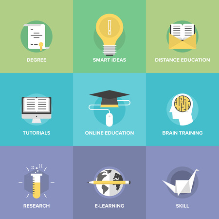 Flat icons set of online education, brain training games, internet tutorials, smart ideas and thinking, electronic learning process, studying new skills.  Illustration