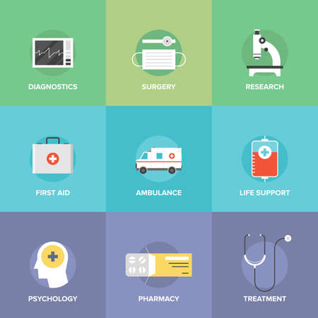 Flat icons set of healthcare technology, diagnostic equipment, surgery tools, psychology and pharmacology, ambulance emergency, medicine treatment.  Vector