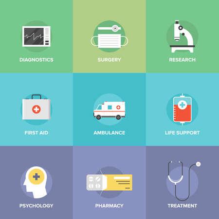 medicina: Iconos planos conjunto de tecnolog�a de la salud, equipos de diagn�stico, herramientas de cirug�a, psicolog�a y farmacolog�a, ambulancias para emergencias, tratamiento de la medicina. Vectores