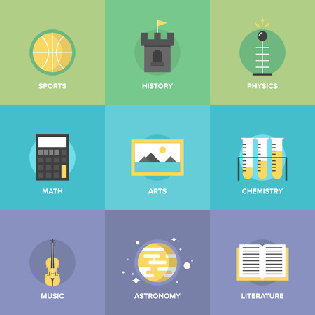 Flat icons set of education main subjects, schooling symbol and learning elements, studying and educational objects.  Vector