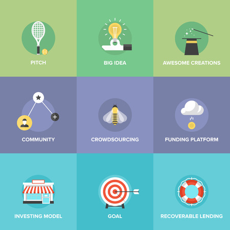 crowd sourcing: Crowd funding service, investing platform for innovation project, creative development of small business, startup model and community ideas. Illustration