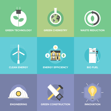Flat icons set of natural renewable and clean energy, green technology innovation and chemistry, bio fuel and waste reduction efficiency.