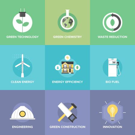 eficiencia energetica: Iconos planos establecidos de energ�a natural renovable y limpia, la innovaci�n tecnol�gica verde y qu�mica, biocombustibles y eficiencia en la reducci�n de residuos. Vectores