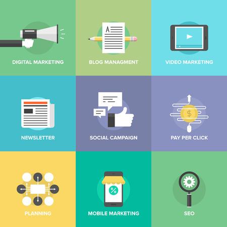 Digital marketing, pubblicità video, campagna di social media, newsletter promozione, gestione blog, servizio pay-per-click, il sito di ottimizzazione seo. Vettoriali