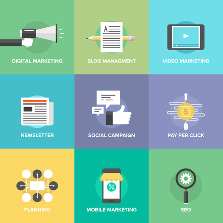 Digitale marketing, video advertising, social media campagne, nieuwsbrief promotie, blog management, pay-per-click service, website seo optimalisatie. Vector Illustratie