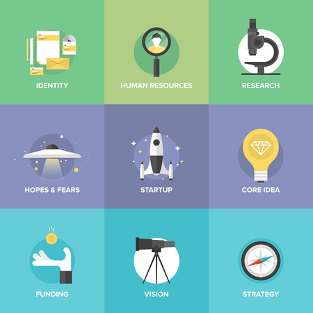 Flat icons set of startup key elements, small business planning development, strategy solution and market research, brand identity and company vision.