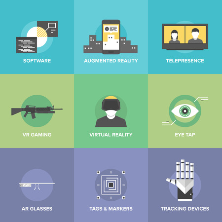 VIRTUAL REALITY: Flat icons set of augmented reality technology, AR glasses and head-mounted display, virtual reality gaming, innovations and futuristic technologies. Modern design style vector illustration concept.