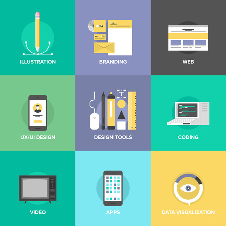 Website User Interface Design, Web-Seite Kodierung und Programmierung, Entwicklung mobiler Apps, Branding Identität und Datenvisualisierung. Standard-Bild - 31371584