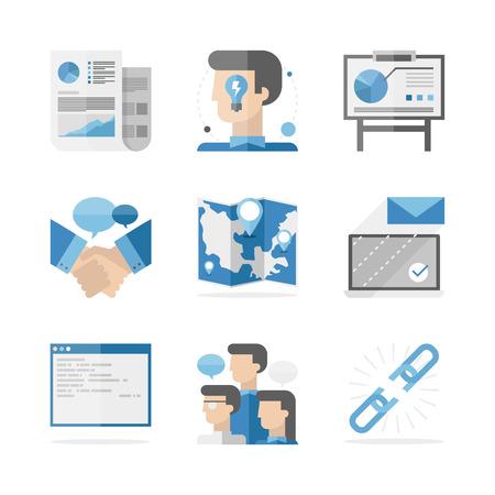 Flat pictogrammen set van wereldwijde zakelijke mensen communicatie, succes ideeën presentatie en samenwerkingsovereenkomst.