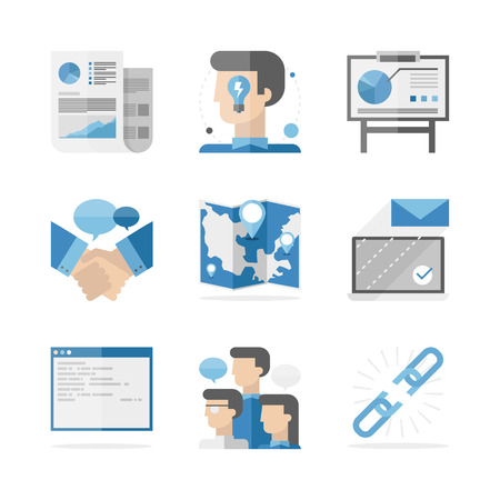 Flat icons set of global business people communication, success ideas presentation and partnership agreement.