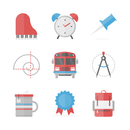 Flat icons set of everyday school objects, studying theory and practice, learning new disciplines and education study. Vector