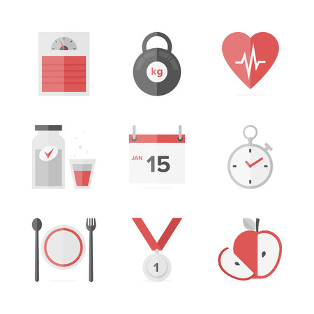 Flat icons set of fitness dieting, weight loss activity, wellness and healthcare, healthy food eating. Illustration