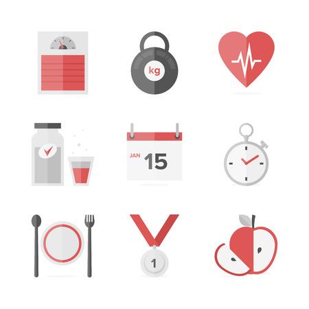 zdrowa żywnośc: Płaskie ikony zestaw fitness, diety utrata masy ciała, aktywności i opieki zdrowotnej, wellness zdrowej żywności jedzenia. Ilustracja