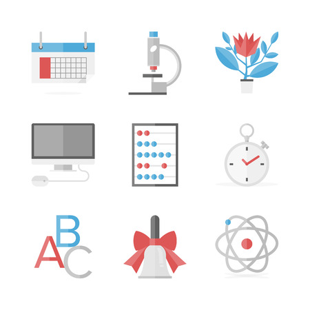 Flat icons set of elementary education items, online learning and study, educational research elements. Vector