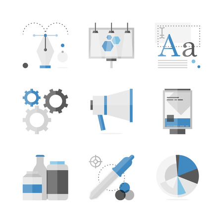 Flat icons set of marketing campaign development, creative product promotion, outdoor billboard advertisement. Vector