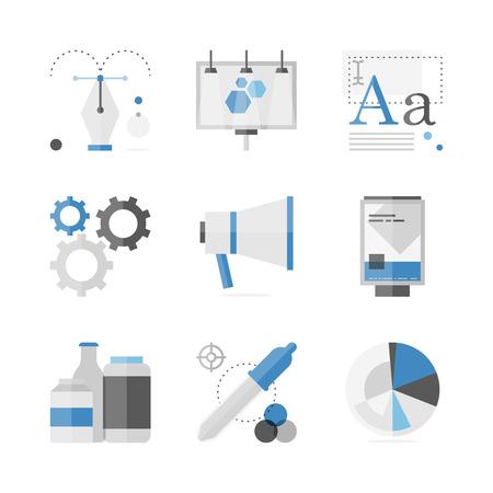 Flat pictogrammen set van marketing campagne ontwikkeling, creatief product promotie, outdoor billboard reclame.
