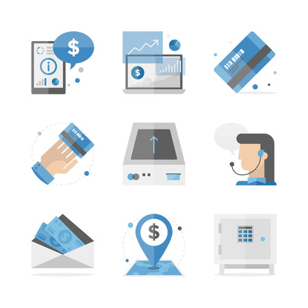 Flat icons set of financial accounting information, banking investment and consulting service, mobile analytics data.