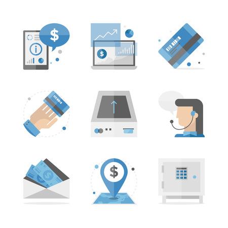 Flat pictogrammen set van financiële accounting informatie, bankieren investeringen en consulting service, mobile analytics data. Vector Illustratie