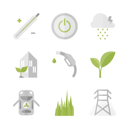 Flat icons set of green power and clean energy, bio fuel and green house, nature symbol and environmental protection.