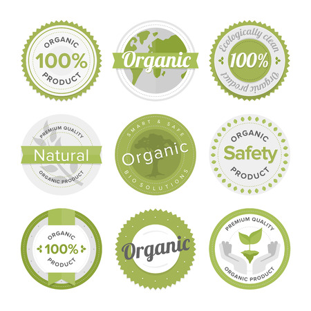 Flat label collection of 100% organic product and premium quality natural food badge elements.  Ilustração